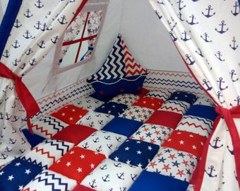 Wonderful marine teepee with anchors and incredible boat pillow (FULL SET+bonbon blanket)