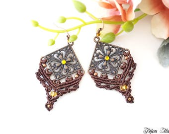 Mothers day gift for her. Bohemian macrame earrings. Tribal macrame jewelry. Boho style tribal earrings. Festival micro macrame earrings.
