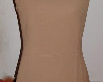 camel beige short dress fitted sleeveless