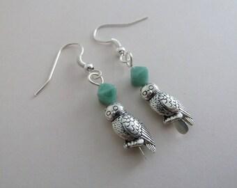 handmade owl earrings, UK jewellery