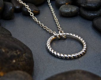 Sterling Silver Twisted Circle Necklace