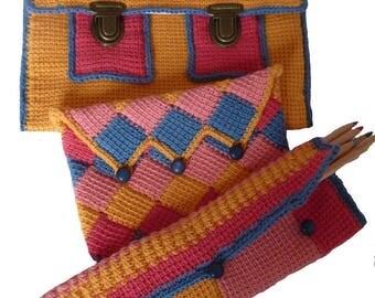 All Tablet cover, pencil case, makeup bag in Tunisian crochet