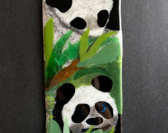 Homemade Original Fused Glass Painting of Pandas Eating Bamboo