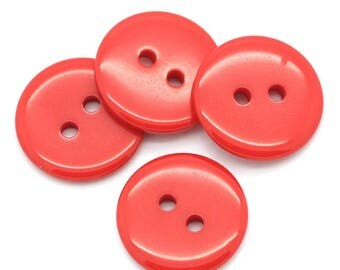 Resin button 2 holes, 2.3 cm, Red