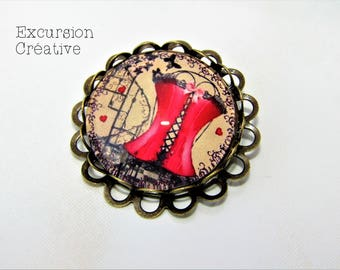 Brooch Corset Vintage Retro red cabochon glass 25 mm
