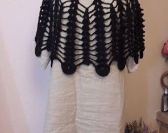 women crocheted black lace cape
