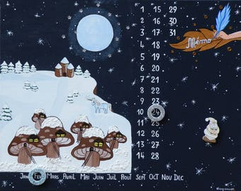 Magnetic perpetual calendar 'The Village of the Fairies' creation