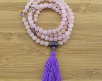 Rose Quartz Mala Beads Necklace with Amethyst | 8mm | 108 Buddhist Meditation Prayer Beads Mala with Tassel | Free Shipping