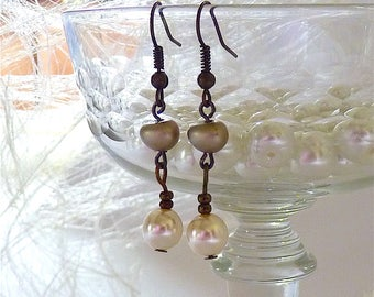 Silver Beaded Earrings, Bridal Earrings, Bride Earrings, Wedding Jewelry Pearl Earrings, Bridesmaid earrings, Dangle Earrings, Gift Idea