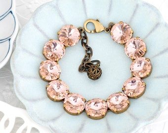 Light Pink Bracelet, Pink Crystal Bracelet, Swarovski Crystal Jewelry Pink Rhinestone Bracelet Swarovski Bracelet Rose Tennis Bracelet Hania