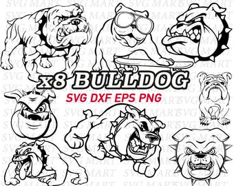 bulldog svg, clipart, decal, stencil, vinyl, eps, dxf, png, line art, vector, cameo silhouette, cricut, cut files