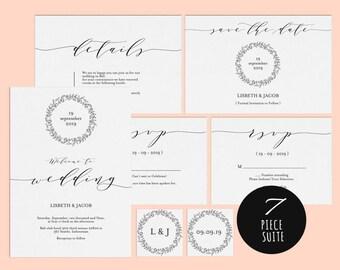 Wedding Invitation Template, Wedding invitation template, Wedding Invite, Kraft wedding Invitation, pdf instant download, LDS_1