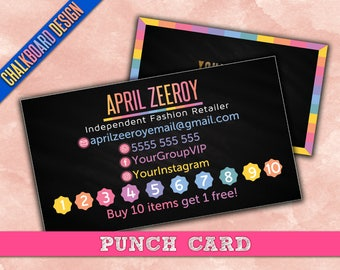 Punch Card. Vertical punchcard, Buy 10 get 1 free, customer punch card,  printable, HO Approved Color & Fonts.  For consultants/retailers