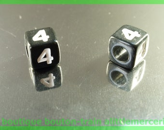 number 4 cube bead 6 mm black and white plastic