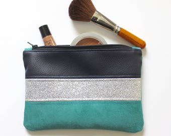 Blue and silver cosmetic case