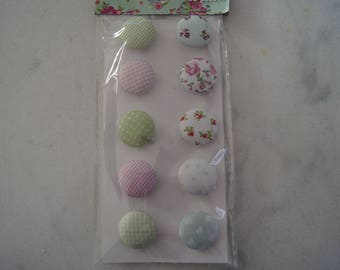 SET OF 10 BUTTONS YOUR GIRLY FABRIC