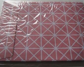 SET OF 10 ENVELOPES 114 X 162 QUADRILLEE PINK