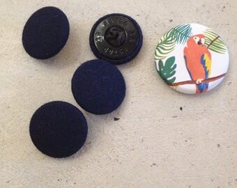 Navy blue fabric buttons