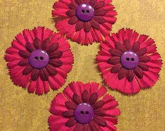 Set of 4 Pink Flower Embellishments