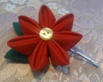 Poinsettia Hairpin