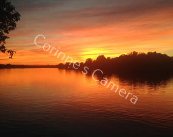 Sunset on the Merrimack 1 blank greeting card