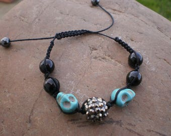 Halloween skulls blue bracelet
