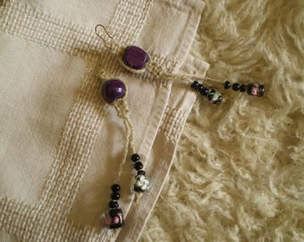 Earrings ethnic cord and purple wooden beads