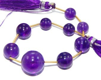 On Best Shop Sale !! 71.10 Natural Purple Amethyst 8-14 mm Smooth Round Shape Beads 6.5 Inches Smooth Amethyst Round Beads