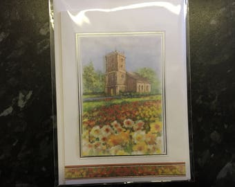 Church and Daffodil Village Scene Traditional Style Card