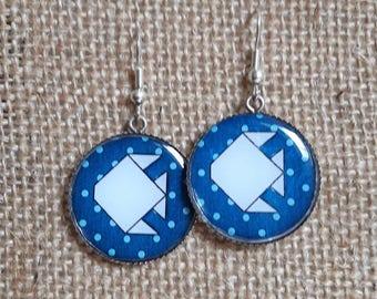 Dangling earrings, resin - origami fish trays-