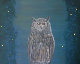 Owl and Fireflies
