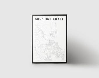 Sunshine Coast Map Print