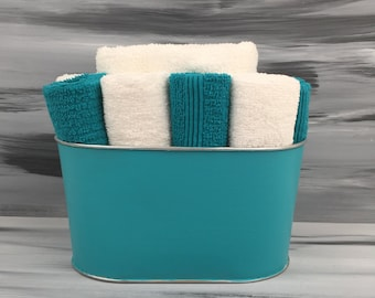 Teal Bathroom Towel/Wash Cloth Bin with  1 white hand towel, 5 teal and 5 white wash cloths. Teal Bathroom Decor.