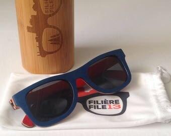 PrettyBleu - sunglasses wooden - UV400 - polarized - filiere13 - File13 - Wooden sunglasses - Polarized