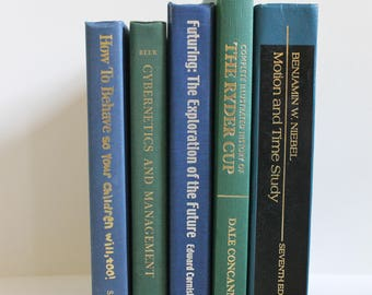 Shades of Blue Green Vintage Decorative Books - Home Decor, Shelf Filler, Instant Library, Wedding Decor, Prop, Book Collection, Book Lover