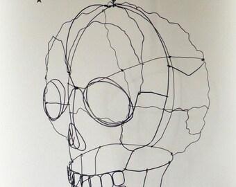 Skull N°6 Crâne fil de fer à suspendre, Wire skull