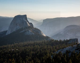 Nature Photography, Sunset while Hiking Yosemite National Park Half Dome, Large Art Print