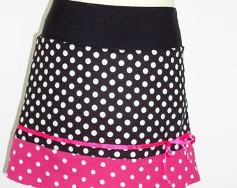 PRETTY SKIRT girl SO CHIC black and pink Fuchsia to polka dots 2/3 years