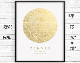 """Denver 16""""x20"""" City Map Gold Print, Real Gold Foil Print, Denver Сircle City Map Poster, Denver Map Print, Denver Gift, US, GoldenGraphy"""