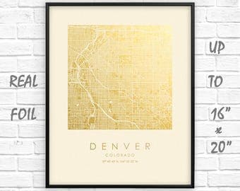 """Denver  City Map Gold Foil Print up to 16""""x20"""" Denver  Large Wall Art Square Poster Gift Home Office Decor US GoldenGraphy"""