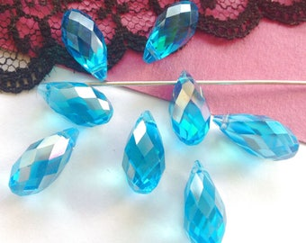 Swarovski Crystal, 2 Pearl drops, drops, turquoise drops Crystal, Crystal, 2 pendants beads lot 16 x 8 mm, (52V)