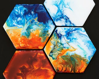 Fire and Ice Coaster Set- set of four handmade original blue and orange abstract fluid art resin coasters
