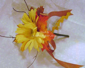Yellow Gerbera Daisy*Autumn fall boutonniere with pearl pin*Groom*best man*prom*party event
