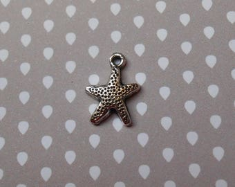 Starfish charm in antique silver
