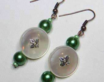 #788 - green pearls and mother of pearl earrings