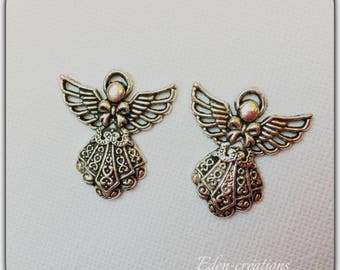 2 Angel charms silver 2.5 cm