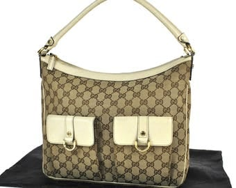 525 GUCCI Authentic Hand Tote Bag Shoulder Vintage Old GG Pattern Brown Canvas Leather Italy