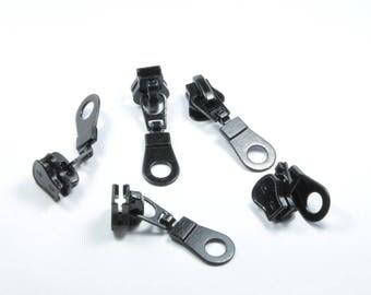 LT24 - Set of 5 black metal slide charms