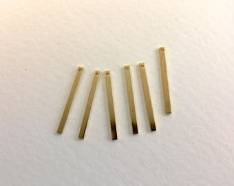 20 charms sticks 25x2mm raw brass for creations of jewels