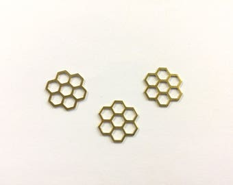 10 spacer flower polygon 14mm raw brass for creations of jewels